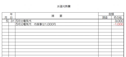 経費帳への記入