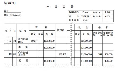 固定資産台帳 記載例
