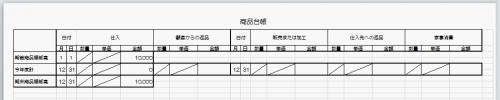 商品台帳 決算用ページ