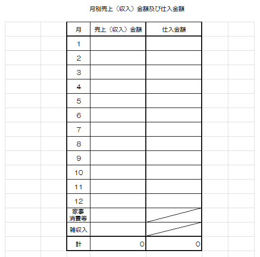 Excel月別売上・仕入表