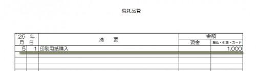 青色申告 消耗品費(経費帳) クレジットカードを使用した場合の記入例